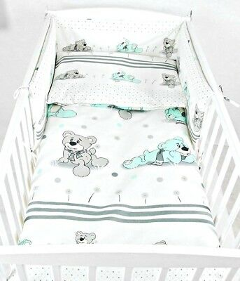 3 PIECES NURSERY - BABY BEDDING SET- BUMPER- PILLOW-QUILT COVER to fit COT
