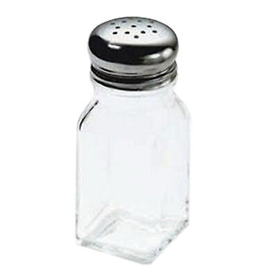 TableCraft 2 oz Square Glass Stainless Steel Top Salt and Pepper Shaker, 48 Pack