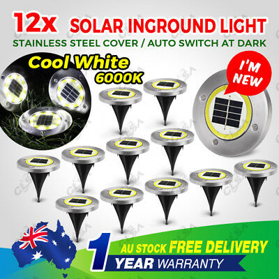 12x Cool White Solar Powered LED Buried Inground Recessed Light Garden Outdoor