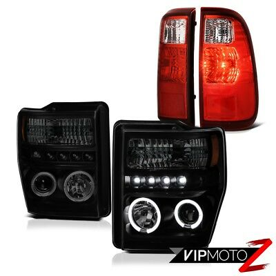08-10 Ford F250 F350 SD Halo DRL SINSTER BLACK Headlights Chrome LED Taillights