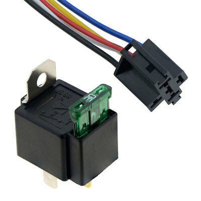 12V Automotive On/Off Fused Relay 30A 4-Pin with Holder Socket High Quality