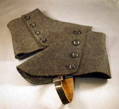 Vintage Victorian Dark Gray Wool Felt & Leather Four Button Pair of Spats