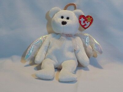 "[COL] Ty Beanie Baby ""Halo"" White Iridescent Wing Angel Bear"