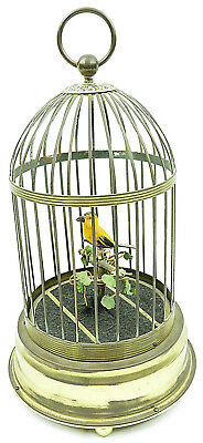 "Vintage Japan SINGING WHISTLING Fake BIRD IN CAGE AUTOMATON 13"" tall"