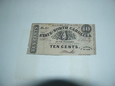 The State of No. Carolina Ten Cents Confederate Note,Dated Raleigh Jan 1, 1863