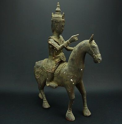 Antique Very Old Folk Art Wood Hand Carved Asian Horse Rider Statue