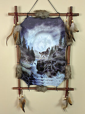 Indian Picture Wolf Sky Dream Catcher Mandella 16 x 22 Beads Feathers Frame