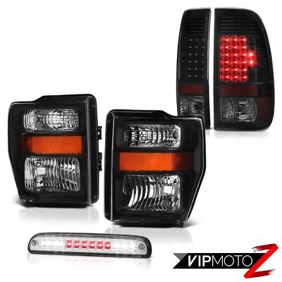 2008 2009 2010 Ford F250 SD Pair Black Headlamps Brake Tail light LED Roof Cargo
