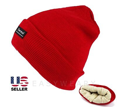 69fbf793701 Mens Womens Beanie Hat Knit Ski Cap Thinsulate Winter Cuff Thermal Cotton  Red