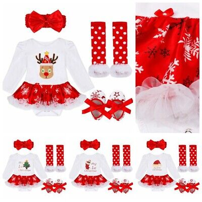 US Girls Infant My Baby First Christmas Outfit Romper Tutu Skirts Headband 3PCS