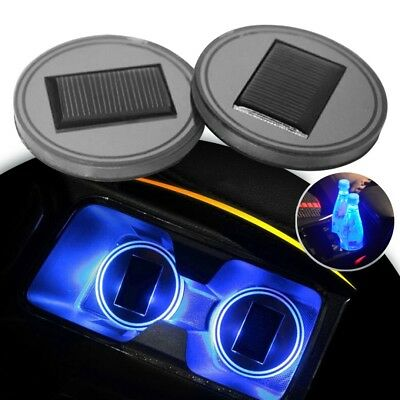 2X Solar Cup Pad Car accessories LED Light Cover Interior Decoration Lights blue