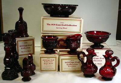 Vintage Avon Cape Cod 1876  Ruby Red Collection Serving Dishes Lot of 12