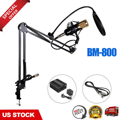 BM-800 Condenser Microphone Kit + Filter Wind Screen Adjustable Studio Recording