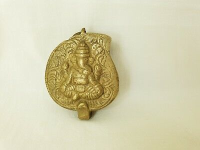 Vintage Indian Brass Betel Nut Box With Ganesh On Lid