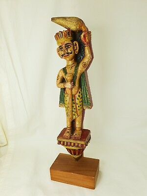 Vintage Indian Painted Wooden Carved Figure With Stand
