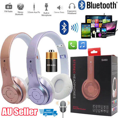 Foldable Stereo Wireless Bluetooth Headset Headphones Noise Cancelling With Mic