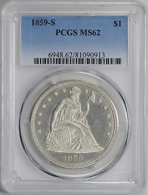 1859-S Liberty Seated S$1 Pcgs Ms 62
