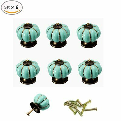 6 Set Vintage Pumpkin Ceramic Door Knobs Cabinet Drawer Cupboard Pull Handle