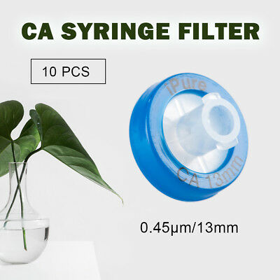10PCS CA Syringe Filter OD=13MM,0.45 Micron,High Quality Hydrophilic Labware