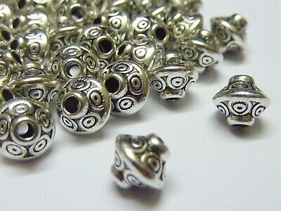 50 pce Dainty Metal Antique Silver Etched Bicone Spacer Beads 6.5mm