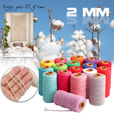 100m Long/100Yard Pure Cotton Twisted Cord Rope Craft Macrame Artisan String NEW