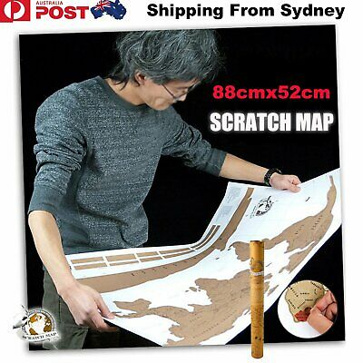 88x52cm Large Deluxe Scratch Map World Edition Poster Travel Atlas Personalised