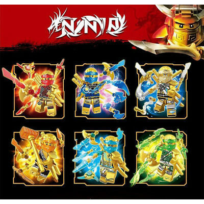 6Pcs Ninjago Gold Crystal Mini Figures Kai Jay Cole Zane Nya Building Blocks Toy