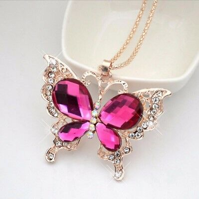 Elegant Fashion Women Gold Charm Long Crystal Chain Pendant Butterfly Necklace