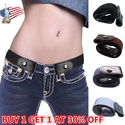 Buckle-free Elastic Invisible Belt for Jeans No Bulge No Hassle Leather Unisex