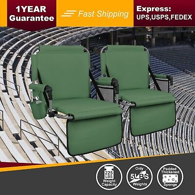 ALPHA CAMP Green Thickened Folding Bleacher Stadium Seat Cushion Chair Set of 2