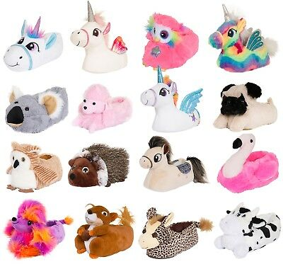 Womens Girls 3D Novelty Character Plush Slippers Ladies Animal Booties Shoes