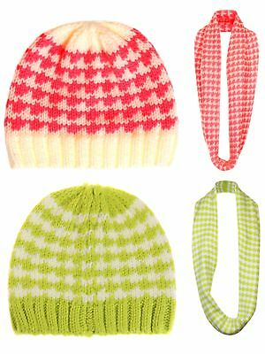 Womens Luxury Neon Houndstooth Knit Jacquard Snood + Beany Hat Set Warm Winter