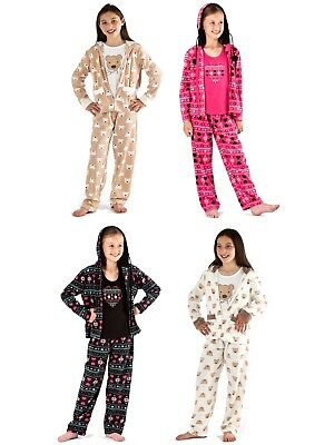 Kids Girls Lounge Pants + Hooded Jacket 3 Piece Set Pyjamas Nightwear 4-13 Years