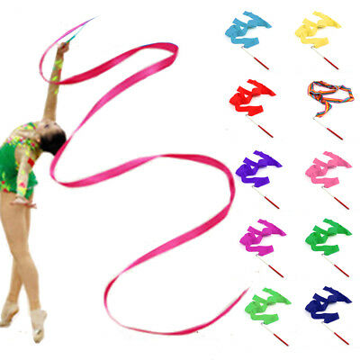10 X Uk Gym Dance Ribbon Rhythmic Art Gymnastic Streamer Baton Twirling Rod
