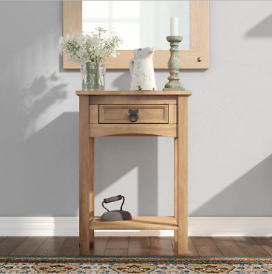 Rustic Small Console Table Drawer Solid Wood Hall Telephone Lamp Side End Table