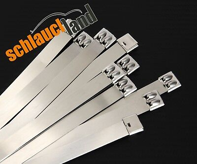 10x Kabelbinder Edelstahl 12 x 400 mm *** SS 304 cable tie heat resistant proof