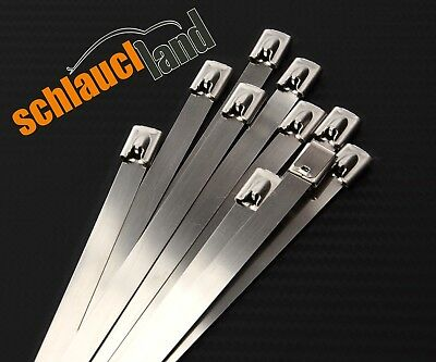 10x Kabelbinder Edelstahl 4,6 x 750 mm *** Metall Stahl V2A cable tie SS 304