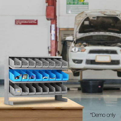 24 Bins Storage Shelving Rack Mount Workshop Garage Warehouse Tools Organiser