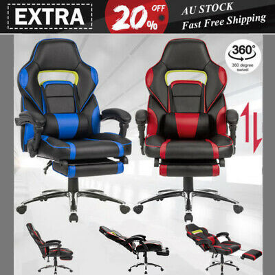 Executive Gaming Office Chair Racing Computer PU Leather Mesh Seat Work Race AU