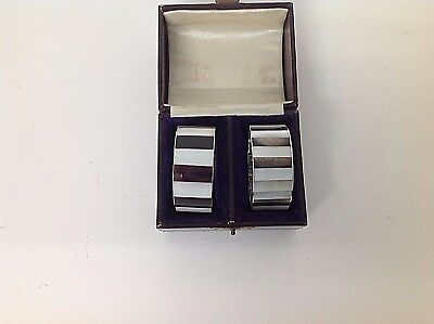 Edwardian HM SILVER CHESTER hallmarked Silver and Mother of Pearl napkin rings