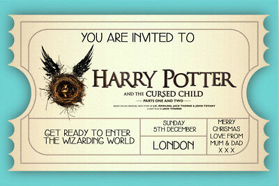 Personalised Harry Potter and the Cursed Child Mock Ticket/ Invite inc envelope