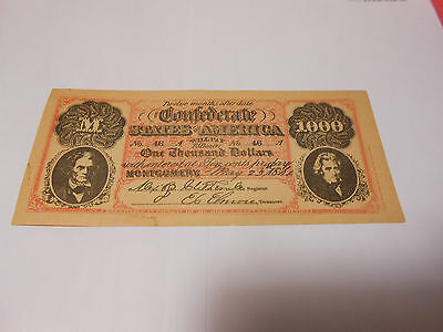 Confederate STATES OF AMERICA $1000 Currency Reproduction Civil War Bill