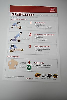 Physio Control Lifepak*AED CPR / AED Chart Sign 17 x 11 Inches #M12