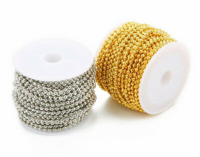 Hot A Roll 2.4mm Silver & Gold plated Metal Ball Round Beads Chain Necklace DIY