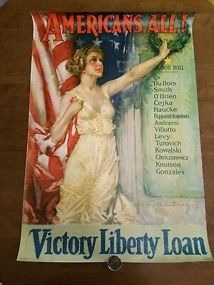 AMERICANS ALL, Original WWI Victory Liberty Loan POSTER, Howard Chandler Christy