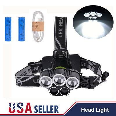 ZOOMABLE 80000LM 5 LED Headlamp Head Light Rechargeable Torch 18650 Battery USB