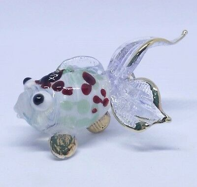 Goldfish Miniature Blown Glass Fish Fancy Animal Hand Craft Collectible Art Gift