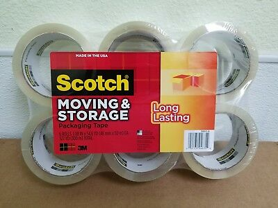 3M Scotch Moving & Storage Packing Tape - 6 Rolls Heavy Duty Shipping Packaging