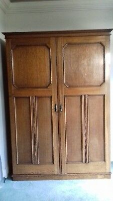 Vintage Solid Oak Wood Gentleman's Wardrobe