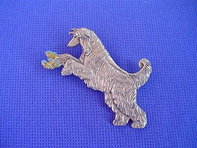 Afghan Hound and butterflies pin #32C Pewter Dog Jewelry by Cindy A. Conter